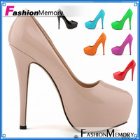 2015 Women Pumps Fashionable Sexy Spkied High Heels Round toe Arificial Patent PU Platform Pumps Party Wedding Shoes