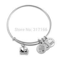 I Love My baby Silver Bangle Bracelet Inspired Trendy Style