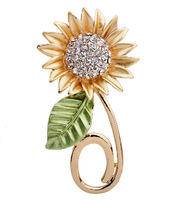 Free Shipping!2015 New 3pcs/lot Fashion Elegant Sunflower Rhinestone Brooches Women Accessories Crystal Brooches Pins
