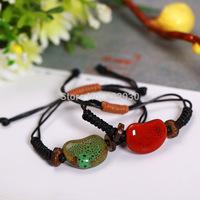 1 pair Lovers Handmade Ceramic Jequirity bean Love Heart Beads Braid Knitting Waxed Cord Bracelet  Valentines Gift