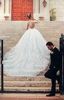 High Quality Embroidery Sheer Back Long Sleeve Wedding Dresses 2015