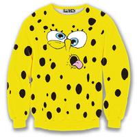 cute Sponge baby print 3D cartoon sweatshirt for women/girl lovely hoodie autumn casual yellow sweat tops crewneck wholesale