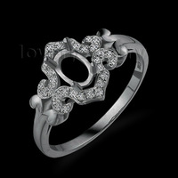 New !Oval 4x6mm 18kt White Gold Natural Diamond Semi mount Engagement Ring WU256