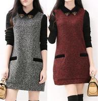 Free Shipping 2014 Autumn Winter Fashion Black pactwork Loose Lantern Sleeve Casual Dress Plus Size LJ274QAF