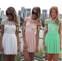 Vestidos Encaje Femininos 2015 New Women Dress Casual Patchwork Print Plus Size Renda Crochet Backless Dresses