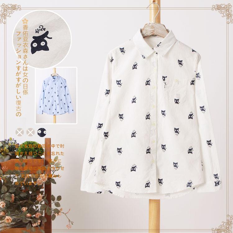 2015 spring new women 's long-sleeved shirt lapel Mori girl's shirt cotton - linen fabric kitty printing blouse blouse(China (Mainland))
