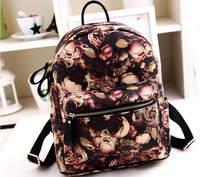 2014 Female Fashion PU Travel Bag women Backpack Rose Printing Vintage Bolsas Student School Bag Shoulder Bag For Teenagers 648e