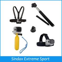 Monopod Tripod Mount Adapter + Float Bobber Handheld Stick + Chest Belt + Head Strap For ALL Gopro Hero SJ4000 Accessories