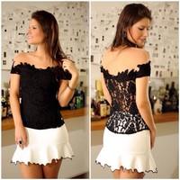 European brand women T-shirts Sleeveless mesh T-shirts Slash neck women Lace T-shirts for women