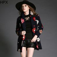 Women Fashion Elegant Woolen Floral Long Sleeve Slim Coat 2014 Autumn Winter New European Style Brand Designer Outwear O1143