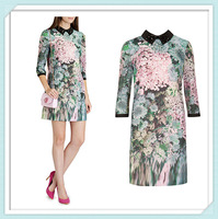 [NWT] Free shipping 2014 Autumn New Glitch Floral Print Tunic Beading Dress Free shipping PLUS SIZE XXL