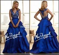 New Style A-Line Royal Blue Formal Dresses V-Neck Sleeveless Applique Floor-Length Prom Dresses ZY317