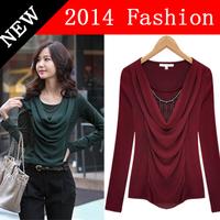 camiseta feminina 2014 new fashion plus size women clothing autumn sexy crop tops tee clothes t-shirt long sleeve t shirt 1218H