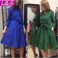 L&G Fashion 2014 Women Dress Hot Selling Casual Long Sleeve Winter Dresses Plus Size Ladies Vestidos Green/Black/Blue Sale 10305