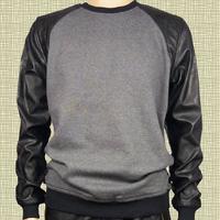 leather sleeve sweatshirt men hip hop brand designer kanye west streetwear cool tyga hba smoke rise clothing hoodie plus size