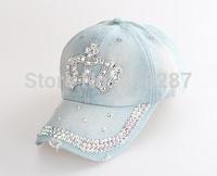 2015 Hot sale!MOQ=1PCS New Denim With Rhinestone Crown Baseball Cap Fashion Women peaked Caps And Hats