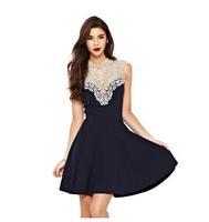 European brand women dress Sleeveless dress women stitching Sexy lace dress for women