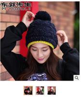 100pcs new 2014 female warm fashion hat double edge knitting wool hat winter hat Bomber Hats free fedex shipping