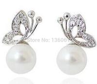 Fashion  Inlay Rhinestone Pearl  Butterfly Earrings Charm Statement  Silvers Stud Earrings 30 Pairs  Jewelry For Women X677