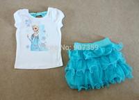 Girls Frozen Princess Elsa 2 Pieces Set (Dress + T-shirt) Blue Tutu Cake Dress Outfits Sets Clothing Set 3-7Years 5pcs/lot