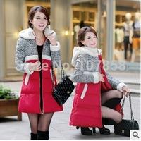 2014 New Brand High quality Down & Parkas European Fashion Lambs wool Women Winter Slim thick Hooded Jacket Women Warm Coat