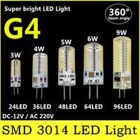 SMD 3014 Home Use Energy Saving LED Lamp G4 DC 12V/AC 220V 24 32 48 64 96 leds 3W 4W 5W 6W 9W Warm White/White Corn Bulb Lights