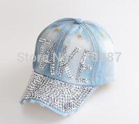 2015 Hot sale!MOQ=1PCS New Denim With Rhinestone Baseball Cap Fashion Women peaked Caps TAKE Letters Sun Hats