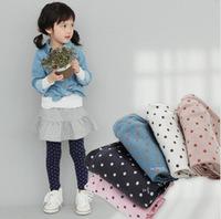 Pls order any 2pcs in shop Sz90~130  spring autumn girls leggings children pants girl trousers dots