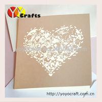 Unique paper bird heart shape laser cut folded europe wedding invitation card