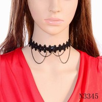 Minimum order $10(mix items) 2015 new latest model design black chain pendant cheap price simple lace necklace choker collar