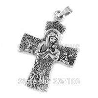 Free shipping! Virgin Mary & Jesus Cross Pendant Stainless Steel Jewelry Fashion Biker Pendant SWP0296A