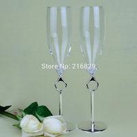 China post air mail free shipping Wedding Toasting Flutes -Silver Metal Base Diamond RingToasting Flutes