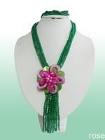 FAZ331    Rose the latest design semi-precious stone necklace  bracelet set