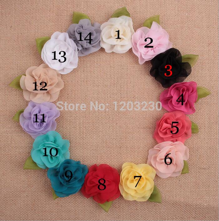 New arrived top fashion children handmade chiffon flower&leafs decoration material free shipping 30pcs mix hairband/hat making(China (Mainland))