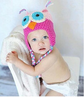 2014 New Winter Baby Hat Parrot Owl Handmade Boys Warm Cap Knitted Ear Protector Spring Cotton Caps For Autumn Baby Beabie