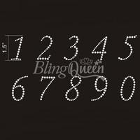 50PCS/LOT Custom Hot Fix Iron On Rhinestone Appliques Number Design