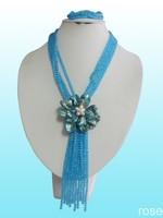 FHDF55  Rose the latest design semi-precious stone necklace  bracelet set