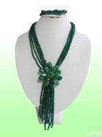 FSD773  Rose the latest design semi-precious stone necklace  bracelet set