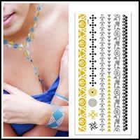 High Quality 5 pcs/lot New Arrive Choker Necklace Bracelets Metal Tattoo Wholesale Gold Silver Flash Jewelry Tattoo