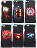 "Luxury Captain America Batman Iron Man Superman Spider-Man X-Men Leather-grain Hard Back Cover Case For Apple iPhone 6 6G 4.7"""
