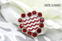 Free shipping,100PCS/LOT Red Heart Chevron Metal Rhinestone button Flatback Rhinestone Wedding Valentine's day,QYQ02