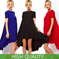 2015 Summer New Fashion Women Clothing Dovetail Short Sleeve O Neck Mini Dresses Solid Color Irregular Chiffon Dress in Stock
