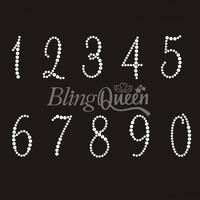 50PCS/LOT Custom Bling Rhinestone Iron On Hot Fix Transfers Number Design