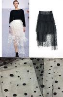 FACTORY! 160cm wide 2yard ivory  black flocked mesh fabric dot spot fabric DIY dress, party decoration, waistcoat,skirt headband