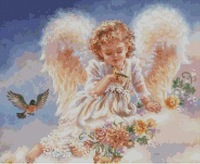 Top Quality counted cross stitch kit little angel with bird HAE-RW006