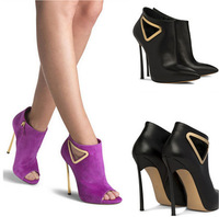 2015 New Black Real Leather High Heels Women Pumps Pointed Toe Wedding Shoes Woman Ankle Autumn Motorcycle Boots Booties