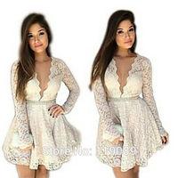 2015 Dresses Embroidery Lace Crochet  V Neck Women Sexy Mini Bodycon Party Club Floral Vestidos Ropa Feminino Plus Size HBQ23