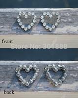 Free shipping,500PCS/LOT Metal Shank Inset Rhinestone Hearts Sew On Decoration Valentines Accessories,QYQ03