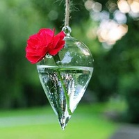 Free Shipping,Hanging Floral Decorative Vase W70mmxH130mm, Glass Terrarium, Taper Shape with a small hole, 4pcs/ lot