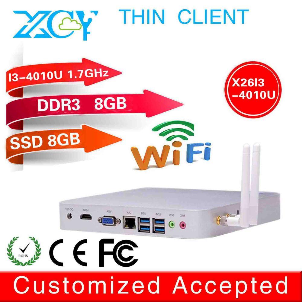 2014 XCY newest i3 mini pc x26-i3 4010u fanless thin client 8g ram 8g ssd build-in-wifi 1080p linux mini itx 4K tv box server(China (Mainland))